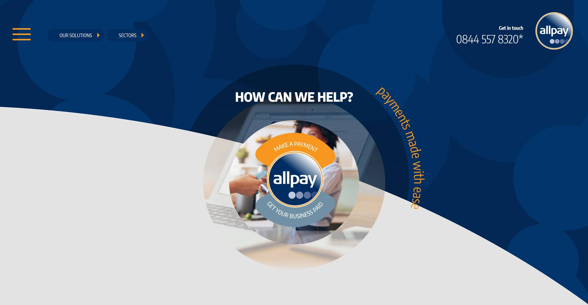 Frontend & Umbraco development of Allpay.net a responsive website built by Hussein Khraibani - Hero section